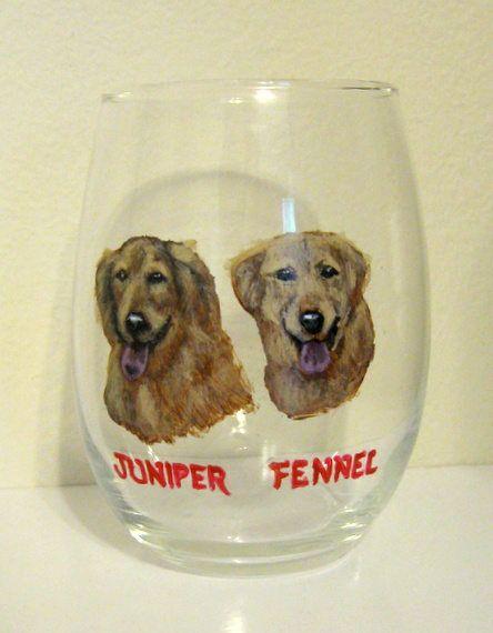 Stemless Wine Glass, Golden Retrievers, Custom Barware, Pet Portrait, Wine Dog, Personalized Birthday Gift, Bar Decor, Painted Dogs, Pet Art by petzoup on Etsy