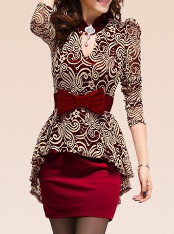 Lace Splicing Packet Buttock Sexy Style Long Sleeves Peplum Dress For Women