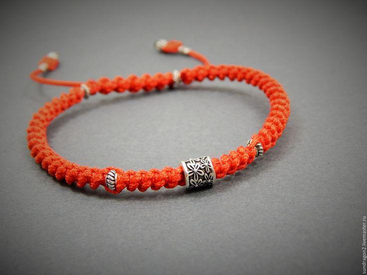 Купить браслет оберег Красная нить от сглаза серебро 925 - шамбала, браслет шамбала