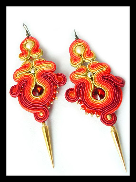 Soutache earrings Swarovski red gold orange Maya's by Mayasbijou €21.86 EUR on Etsy.com