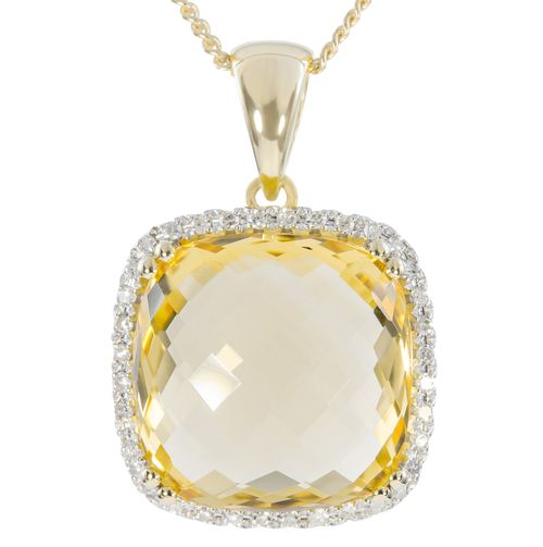 9ct Yellow Gold Checkerboard Cut Citrine  Diamond Pendant only $321 - purejewels.com.au