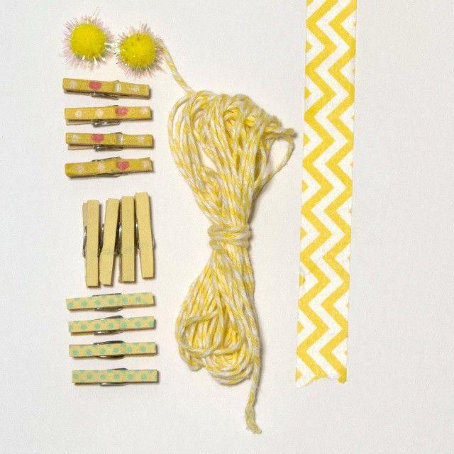 Yellow pegs and washi tape