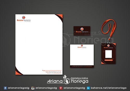 Diseño de Hoja Membrete, Tarjeta de Presentacion, Taco Informativo y Carnet de Empleados - Bucare Systems