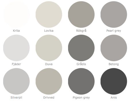 !!! I love gray!!! :) (just not in the sky) shades of grey from Alcro Paints Sweden.