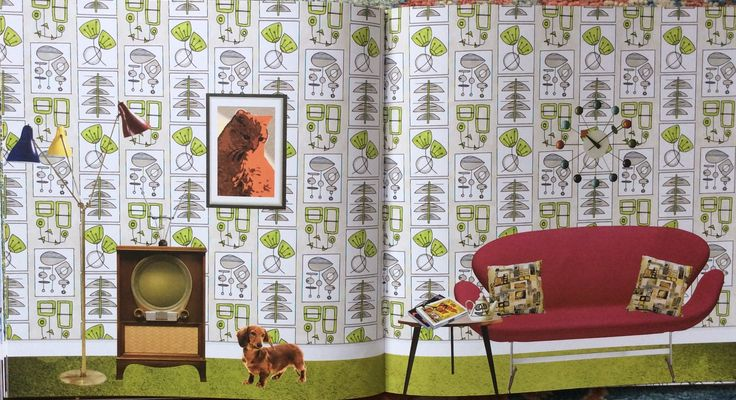Wallpaper Book. The Year is 1956. Coloured by Prue.