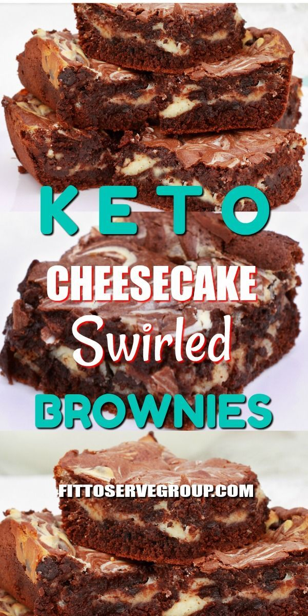 Keto Cheesecake Swirled Brownies -These low carb brownies are rich, fudgy and fe…