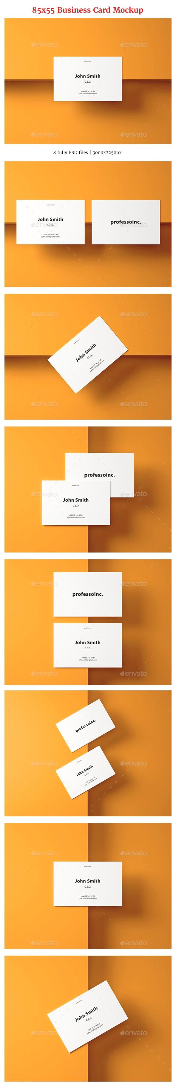 85x55 Business Card Mockup Set 2 Business Card Mock Up Printing Business Cards Business Card Psd