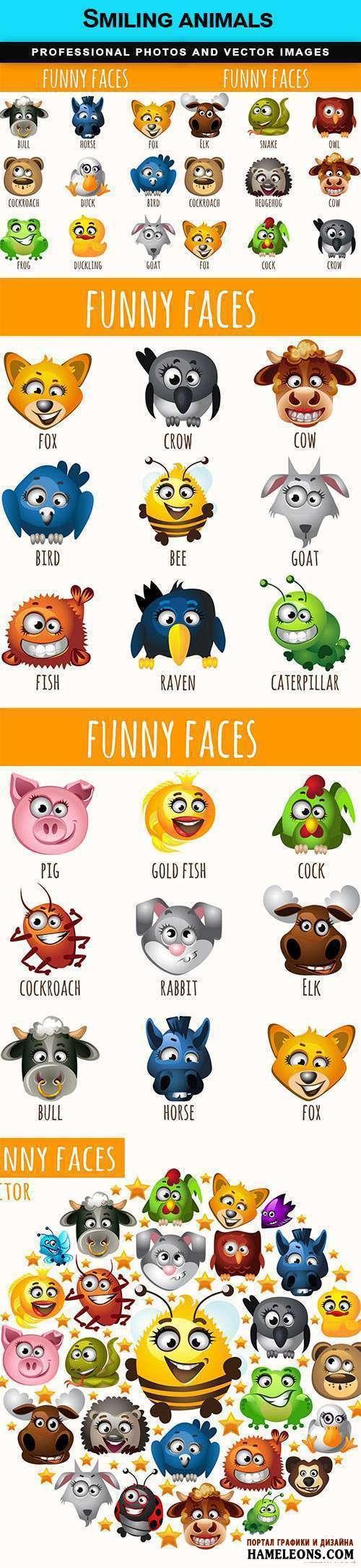 В векторе веселые, улыбающиеся животные, птицы, насекомые | Animals