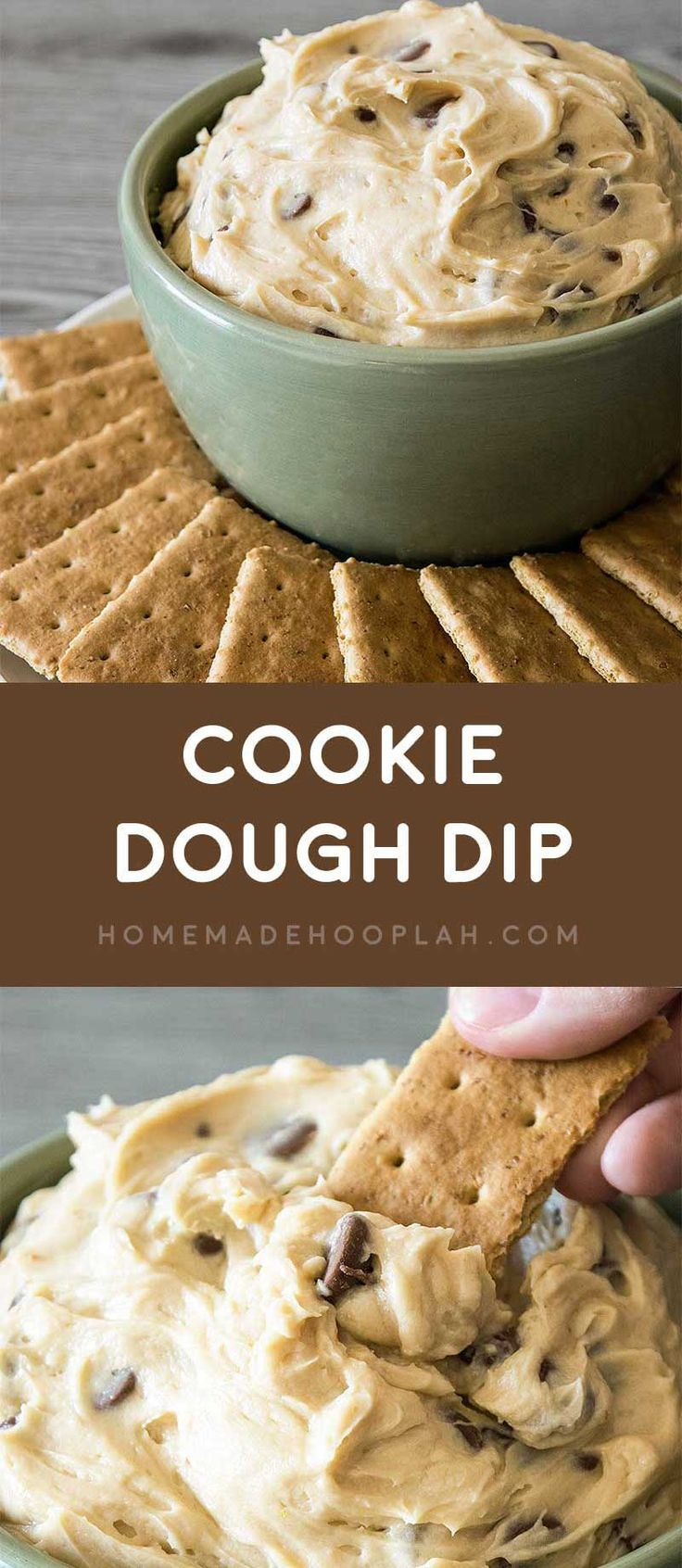 Cookie Dough Dip! Dazzle your guests by serving up dessert first with this ultra-creamy cookie dough dip with chocolate chips. It's also eggless and no bake!   HomemadeHooplah.com