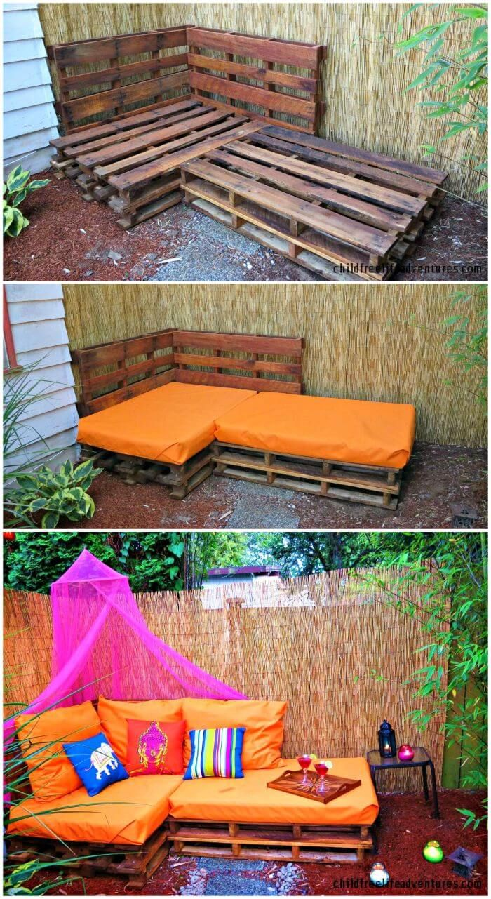Outdoor Pallet Sofa – Pallet Sectional Sofa - Pallet Sofa - 12 DIY