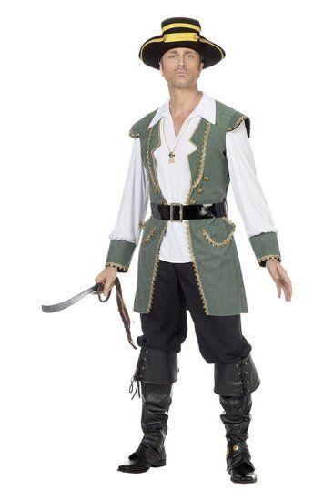 Kostuum Piraat Groen Heren - De Kaborij
