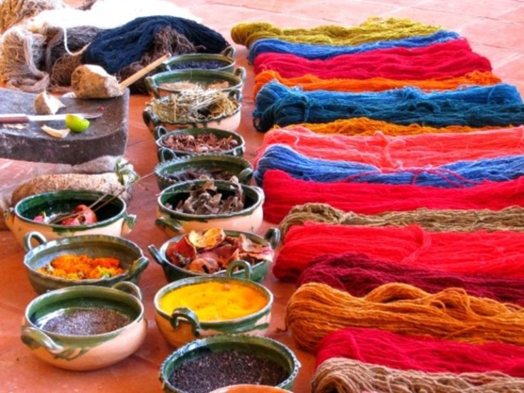 Teotitlán del Valle, Teotitlán del Valle, Mexico - Demonstration on how to obtain natural dyes to give color to wool thread (which is used later to create rugs and other textiles).