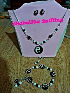 SHABELITA QUILLING : Conjunto de collar aretes y pulsera de Ying-Yang