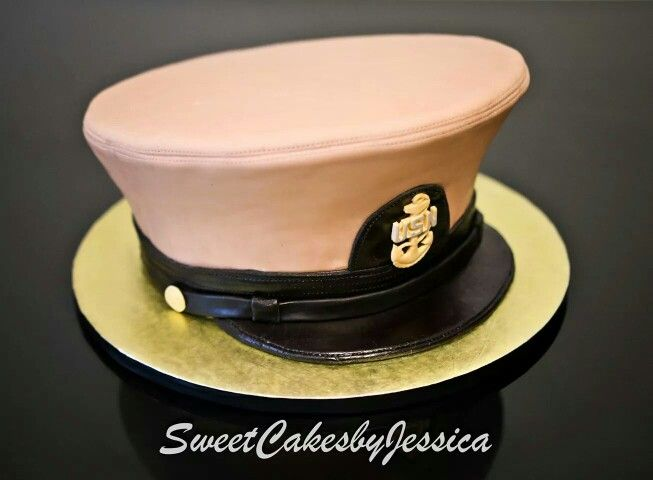 Navy chief cake, uniform hat, combination cover cake, khaki cake, khaki hat, cover, retirement cake, us navy, navy chief