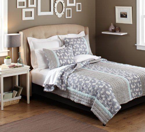 Pinzon 100-Percent Cotton Printed Twin Quilt Set, Gray Gardenia by Pinzon by Amazon.com, http://www.amazon.com/dp/B007K6X1CQ/ref=cm_sw_r_pi_dp_tN-Hrb07X2E9A
