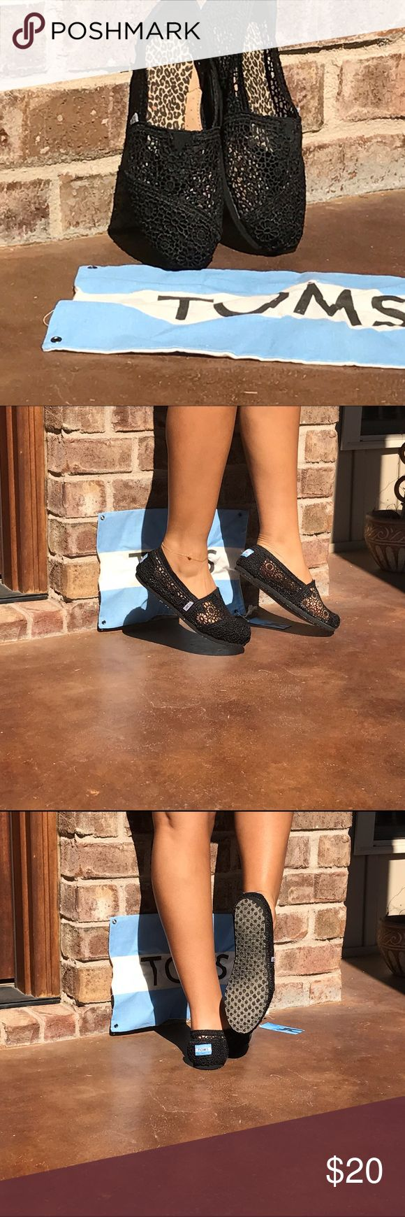 Black Crochet TOMS Size 7 Cute little Black crochet toms...has leopard print inserts to give me a snug fit ( I purchased too big) TOMS Shoes Flats & Loafers