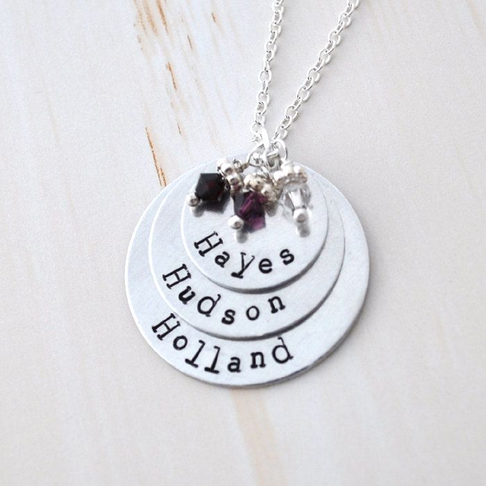 Mother Necklace Mom Of 3 Personalized Mommy Kids Name Birthstones Children Gifts For Keepsake My Style