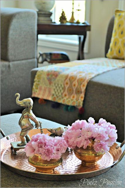 Indian inspired décor, home decor, cherry blossom, on the coffee table, flower arrangements,  Indian décor, brass décor, pink flowers, vignettes