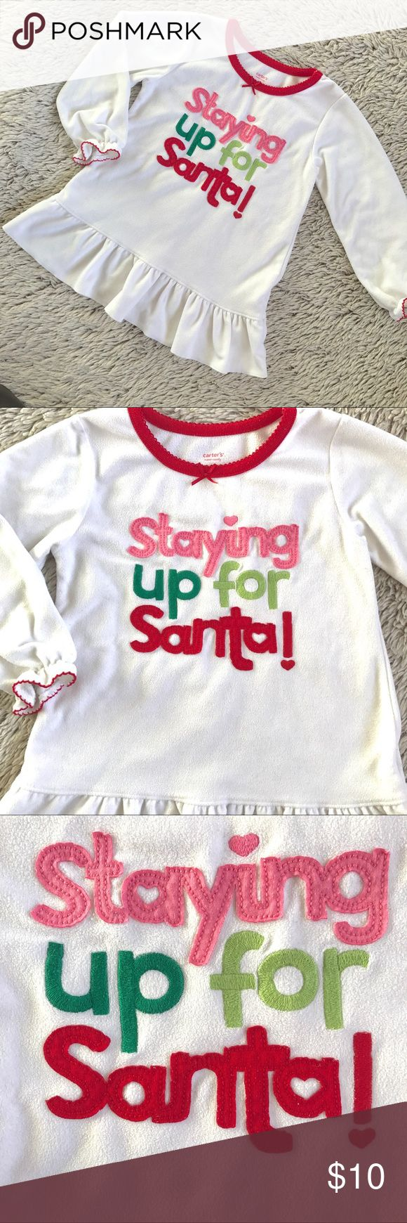 Staying Up for Santa Nightgown🎄 Cute Staying Up For Santa nightgown by Carter's▪️Warm fleece material▪️Size 3T▪️In very good condition▪️Perfect for the Holidays🎄🎄 Carter's Pajamas Nightgowns