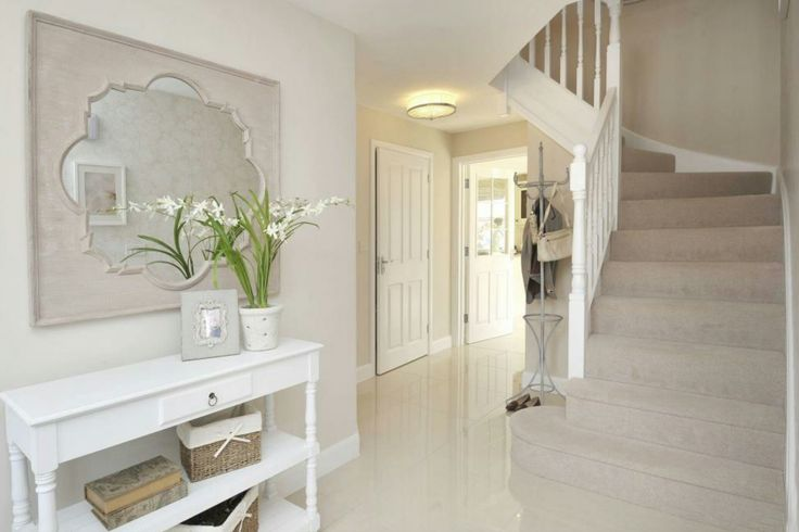 Interior Designed Hallway in a French Country Style.  Putty and chalk white scheme with Elephants Breath paint.  David Wilson Homes 2016 #dwh #davidwilsonhomes #showhomes #interiordesign #frenchstyle
