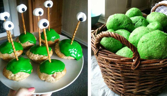 Monstermuffins med sjove øjne og grønne boller