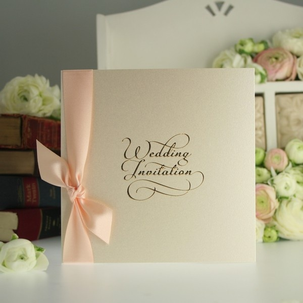 15 best wedding invitation designs images on pinterest invitation classic script cream and peach wedding invitation stopboris