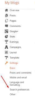 Blogger Blog search engine optimization settings