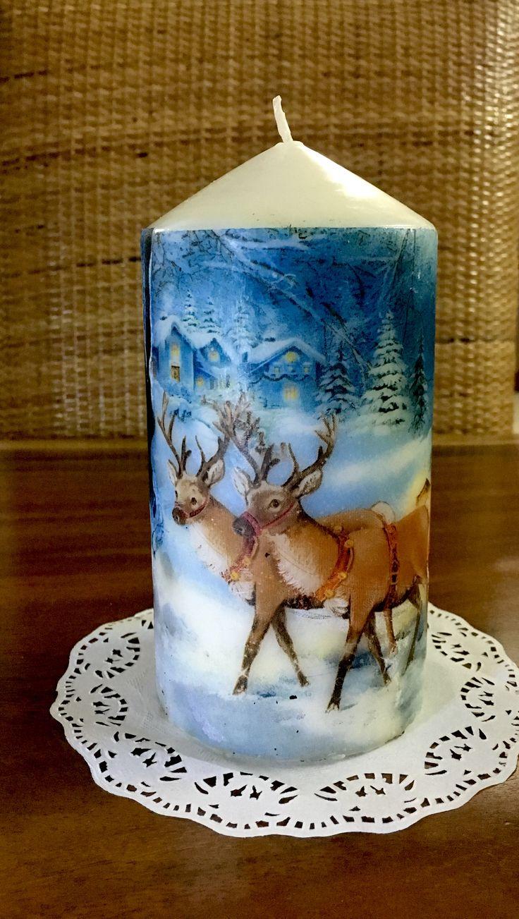 Candle Decoupage, Christmas Decoration, Decoupage, Dekupaz