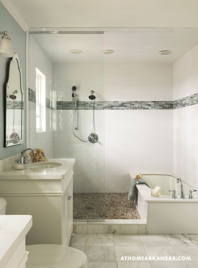 Design by Laura Bartell | Photography by Rett Peek | At Home in Arkansas Magazine | http://www.athomearkansas.com/article/primary-palette #bathrooms #masterbathrooms #white
