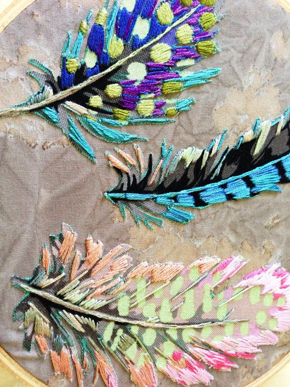 Feathers Falling Slowly Hoop by islandbaby on Etsy