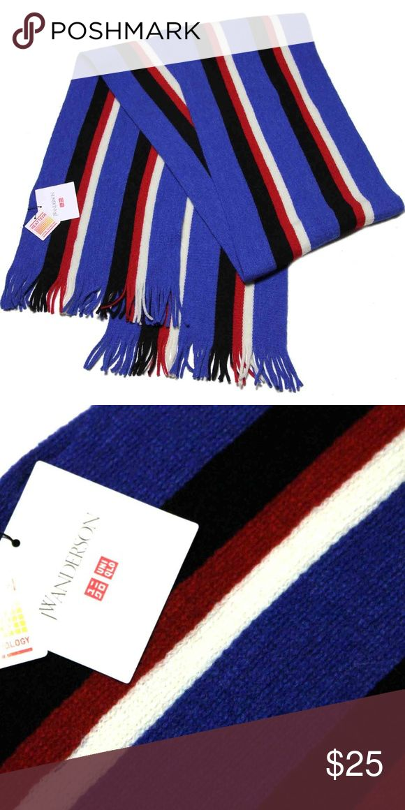Uniqlo JW Anderson Striped Scarf Uniqlo JW Anderson scarf Striped Blue, red, white and black 17% wool, 64% acrylic, 19% nylon, HEATTECH 80 inches X 9.75 inches New with tags Uniqlo Accessories Scarves