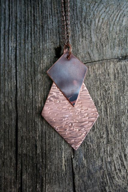 Hammered Copper Geometric Necklace by RambleRove on Etsy