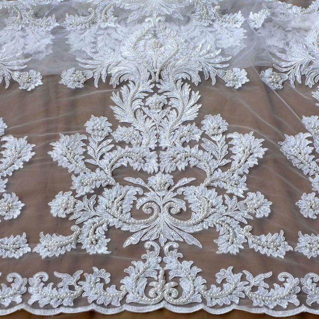 Грязно-белый большой pattener шнур кружевной ткани super heavy бисером ткань ручной работы бисером свадебное платье кружевное полотно ширина 51' 1 двор