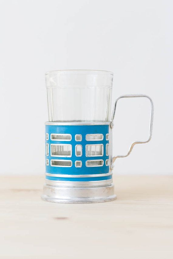 Russian tea glass holder Mid century modern glass holder Industrial decor Tea time Retro kitchen Tea mug Coffee cup Blue by TimeTestedFinds