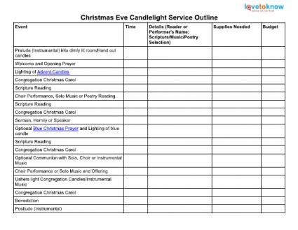 Printable Outline for a Christmas Eve Candlelight Service