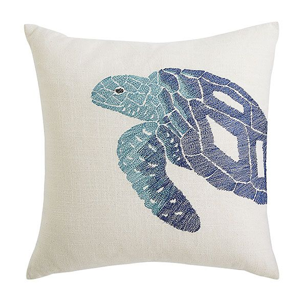 Wisteria - Accessories - Pillows & Cushions -  Blue Aquatic Life Pillow Cover - Turtle - $39.00