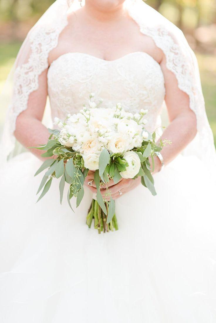 Rustic Chic Vineyard Wedding - all white bridal bouquet