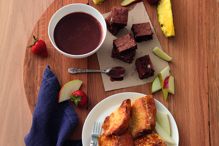 Fonduta di cioccolato e brownies