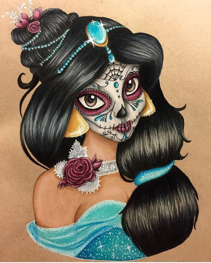 Beautiful Princess Jasmine sugar skull drawing by the talented @steffifreder_art. Be sure to check out the rest of her lovely work. Also check us out at @art.nerds.unite by art_collective