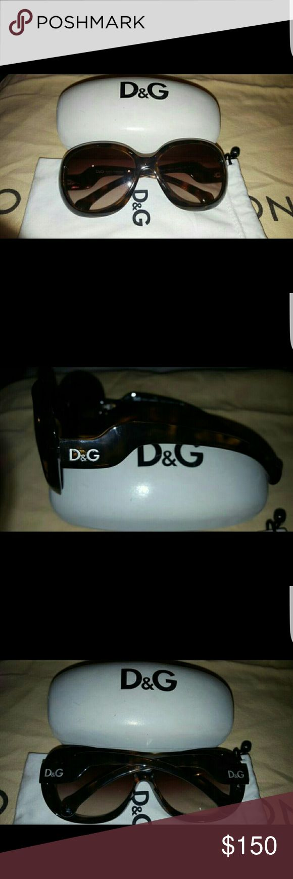 Authentic Dolce & Gabbana Sunglasses Authentic Dolce & Gabbana Sunglasses comes with dust bag and case! Only wore a handful of times. Name brand stamped to guarantee authenticity.   Get ready for spring with these beauties at an awesome price. 😍😍 Dolce & Gabbana Accessories Sunglasses