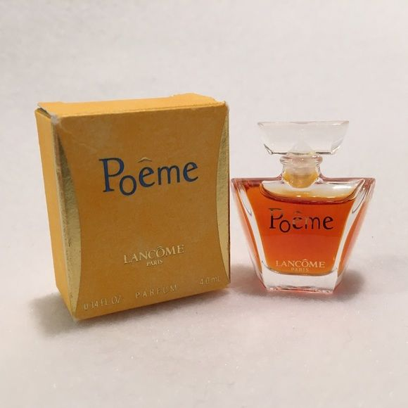 Lancôme Poeme Perfume Mini Parfum Miniature NWB Miniature size Lancôme Poeme perfume new with box NWB. Full-strength Parfum. 4 ml (0.14 fl oz). Perfume mini size - see ruler in last photo for size comparison. Dab-on style perfume - NOT a spray. Lancome Makeup