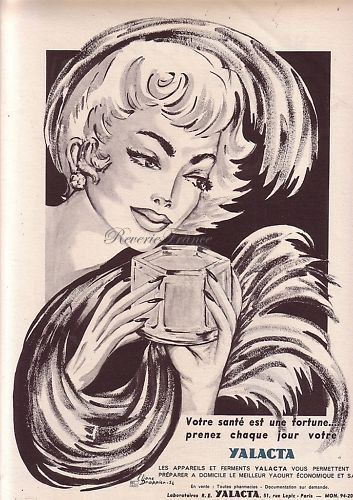 French Vintage Poster Ad  Yalacta Yogurt 1954 by reveriefrance