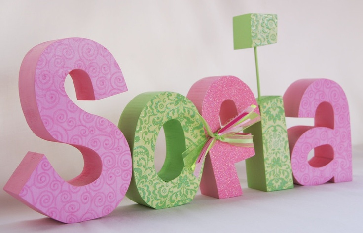 Custom Children's Decor, Wood Letters, Nursery Letters, Custom Letters, Baby Girl, Pink and Green, Customized for you Set of 5.