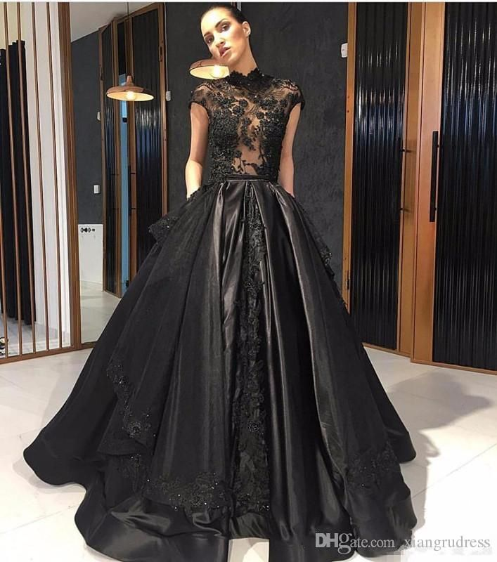 Elie Saab 2018 Black Lace Formal Celebrity Evening Dresses High Neck See Through Red Carpet Prom Party Gowns With Detachable Skirt Evening Wear Ladies Clothing From Xiangrudress, $133.8| Dhgate.Com