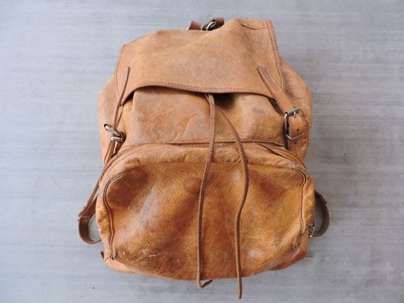 BEAT TO HELL Rare Vintage 70s Brown Leather Backpack by BeatToHell