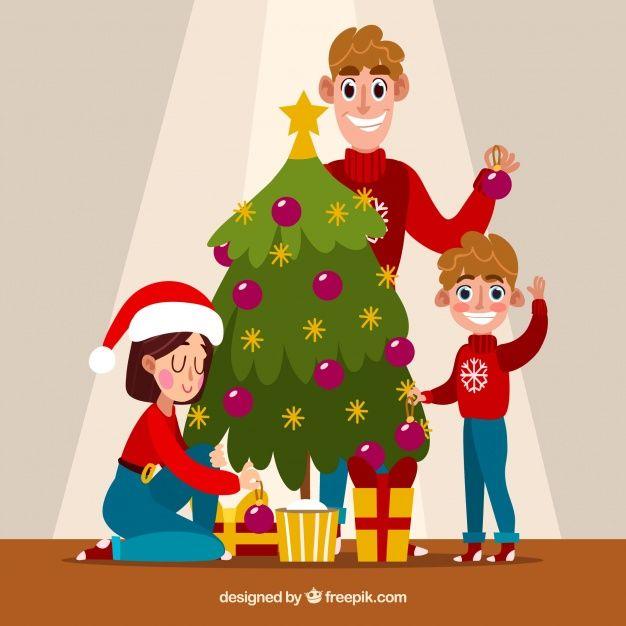 Familia Decorando Un Arbol De Navidad Arbol De Navidad Ilustracion De Navidad Imagenes De Navidad