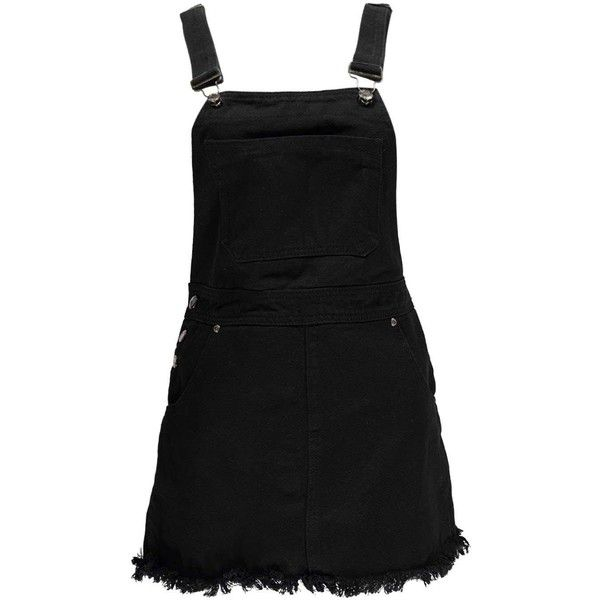 Boohoo Betty Black Denim Dungaree Pinafore Dress | Boohoo (115 ILS) ❤ liked on Polyvore featuring overalls and denim dungaree