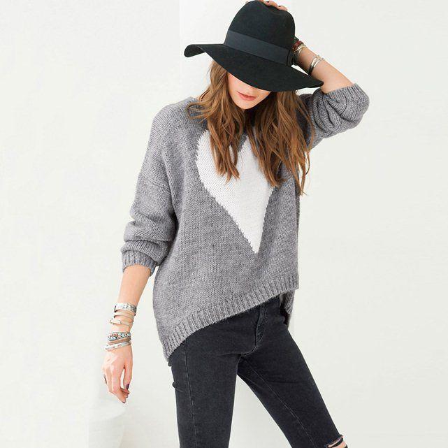 Asymmetric Jacquard Sweater with Heart Motif