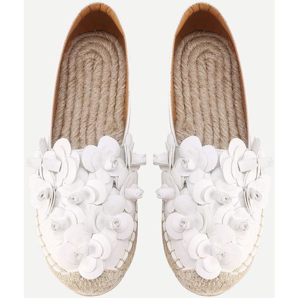 SheIn(sheinside) Flower Embellished Espadrille Flats (150 RON) ❤ liked on Polyvore featuring shoes, flats, white, white shoes, espadrille flats, espadrille shoes, embellished flat shoes and decorating shoes