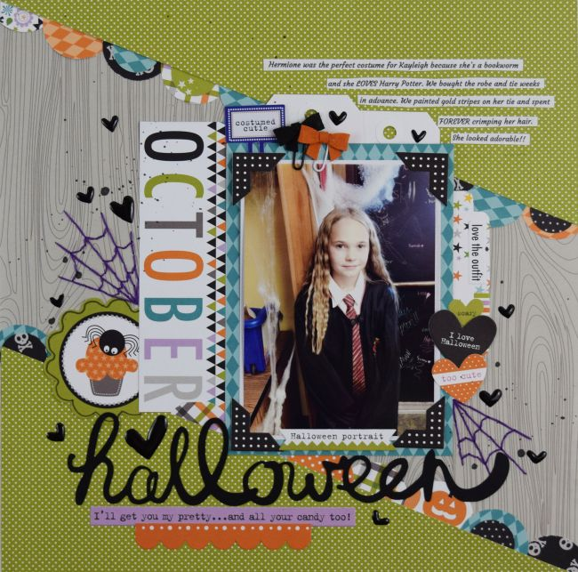 Bella Blvd Halloween Magic collection. Halloween layout by creative team member Becki Adams.